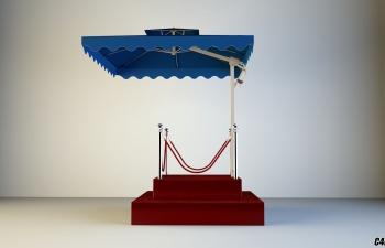 户外站岗台 岗台带伞模型免费下载