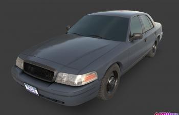 福特维多利亚皇冠轿车汽车C4D模型 ford crownVictoria 1992