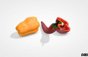 C4D蔬菜模型 辣椒 菜椒 青椒