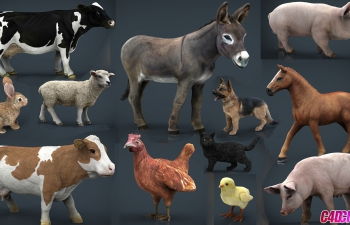 12套动物C4D模型Default Cubebrush - Farm Animals Collection Pack