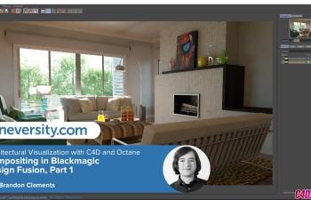 Octane渲染器室内场景灯光环境材质渲染C4D教程