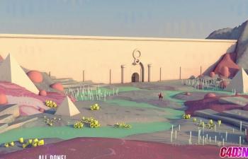 C4D教程 低面模lowpoly风格王国城堡野外风景建模渲染教程[倍速] The Wa
