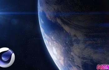 C4D教程 制作太空中的光晕地球材质渲染教程