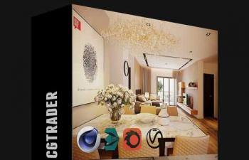C4D工程 室内设计客厅卧室效果图建模渲染模型