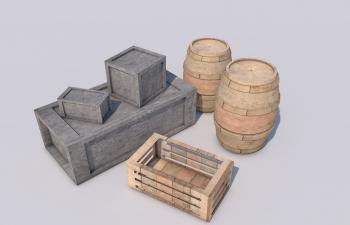 C4D石箱红酒桶模型Boxes and Barrels