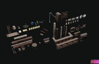 41组复古旧房子老式家具组合模型合集 Cubebrush - Western Kitbash