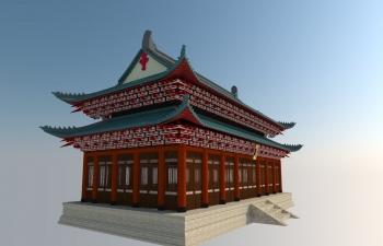 中国古代重叠屋檐建筑模型