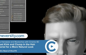 C4D男士发型和八角胡须毛发制作教程