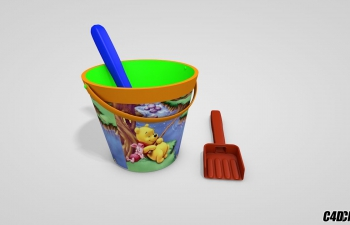 C4D模型 儿童玩具铲水桶 模型