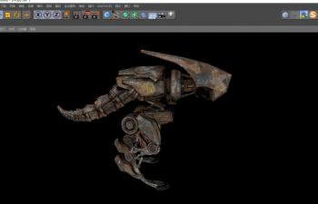 C4D模型 恐龙仿生机械机器人含绑定动画