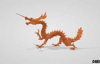C4D模型 木雕 中华龙 摆件 装饰模型