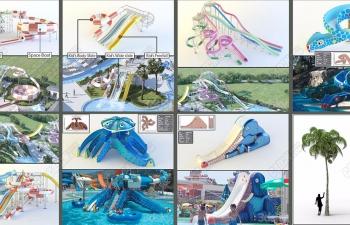 8个水滑梯游乐园模型合集 water slides