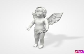 C4D模型 带翅膀的天使男孩