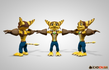 C4D卡通老虎角色模型