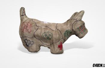 C4D模型 纸质小狗动物模型 paper mache dog
