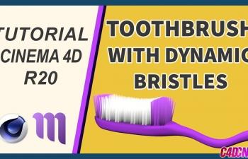C4D教程 毛发工具制作牙刷刷牙摩擦牙刷毛动画教程