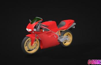 C4D模型 红色摩托车低模模型