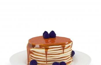 C4D模型 蓝莓烙饼食品模型