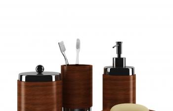 C4D模型 木质牙刷缸洗发露肥皂盒容器管组合套装洗刷模型