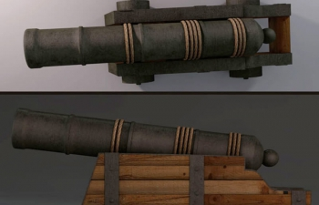 复古古代火枪火炮C4D模型 Vintage ancient musket artillery C4D model
