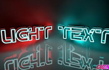 C4D荧光灯镂空文字设计材质渲染C4D教程