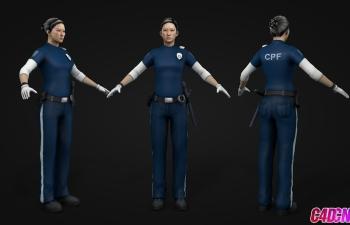 青年警察女子女人c4d模型