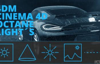 C4D预设- OCTANE渲染器灯光预设汉化版 CINEMA 4D OCTANE LIGHT Simple Octane Lightkit
