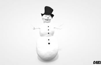 C4D模型 面目狰狞戴帽子的雪人模型