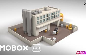 低多边形工厂场景纹理和动画C4D教程