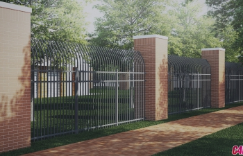 C4D模型 公园格栅围墙百叶窗模型合集