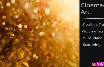 C4D教程 Octane渲染器秋天的黄昏浪漫树叶效果教程