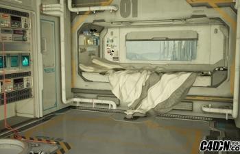 C4D科技卧室模型