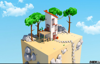 CINEMA 4D教程—— 低多边形房子速度建模艺术