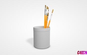 C4D模型 笔筒和毛笔