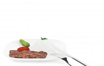 C4D模型 烤肉牛排黄瓜蔬菜大米饭刀叉餐具食物模型