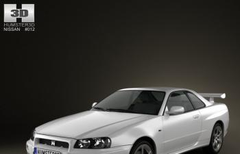 尼桑skylineGTR R34跑车汽车模型