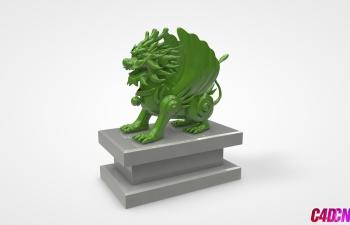 C4D雕塑 飞龙 麒麟