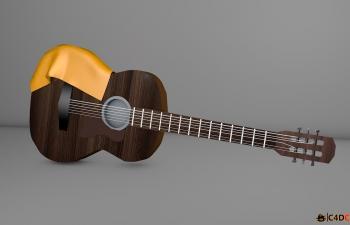 C4D木吉他模型含动画