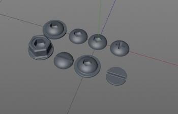 C4D预设 72个螺丝头部模型预设
