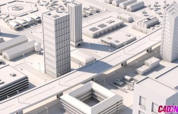 C4D纸质材质LOWPOLY风格城市教程(倍速) CINEMA 4D SPEED ART White City