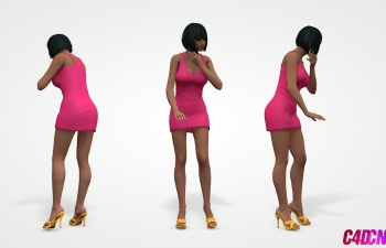 C4D模型 打电话的连衣裙短发美女女性模型 高跟鞋 手机