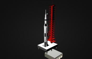 C4D火箭发射站模型