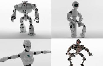 C4D 6个机器人模型合集,多种3D格式