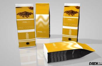 C4D咖啡豆产品包装袋模型工程文件