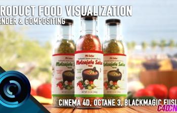 C4D教程 Octane渲染器制作辣椒酱食品玻璃瓶子包装