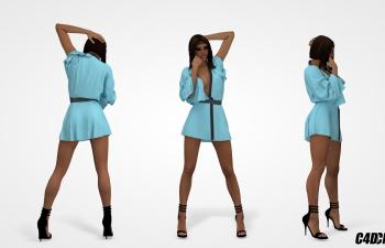 C4D模型 穿连衣裙性感美女模型