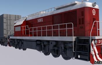 C4D模型 东风货运火车
