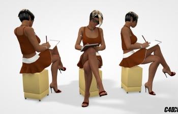 C4D模型 戴眼镜性感美女记笔记模型
