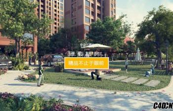 3D模型 小区绿化休息小公园