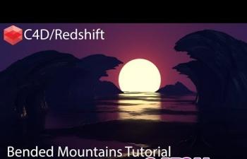 C4D教程 Redshift渲染器卡通插画风格弯曲山脉大海日落教程